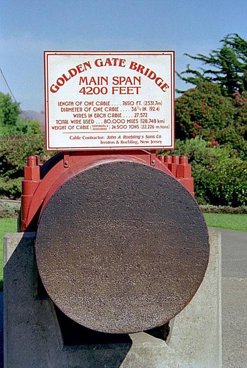 Das Stahlseil der Golden Gate Bridge mit einem Durchmesser von 92 cm.