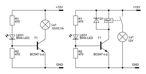 Zwei Schaltungsvarianten des Blink-LED-Blinkers