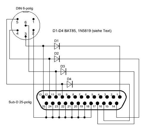 Schaltbild des XM1541-Kabels. Die vier Dioden wurden im Parallelportstecker untergebracht.