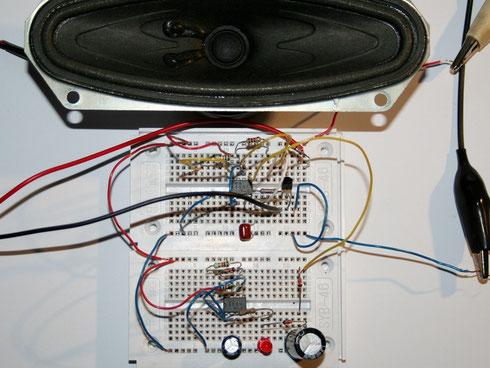 Aufbau der Schaltung auf Steckboards