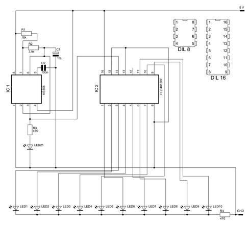 Schaltbild des 10er Lauflichts. Bild kann durch Anklicken vergrößert werden.