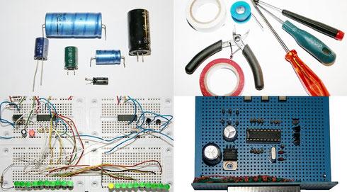 Elektronische Bauteile, Werkzeuge, Steckplatinen und Lochrasterplatinen