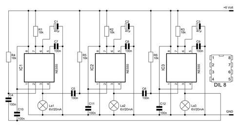 Schaltbild des erweiterbaren NE555-Lauflichtes (zum Vergrößern bitte anklicken).