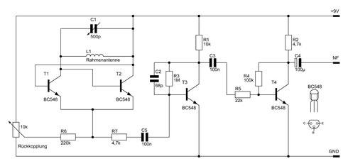 Schaltbild des Mittelwellenradios mit Drehkondensator. Bild ist durch Anklicken vergrößerbar.