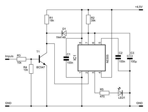 Schaltbild des Impulsdetektors mit dem NE555