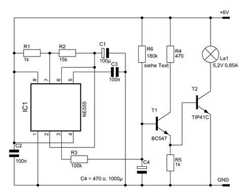 """Schaltung des """"weichen"""" NE555-Blinkers zum Ein- und Ausblenden der Lampe"""