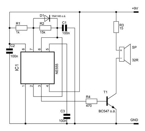 Zweite Version des Signalgebers mit dem NE555