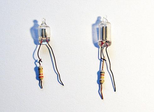 Verschiedene Glimmlampen mit Vorwiderständen