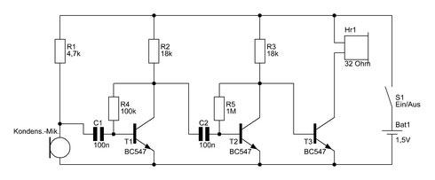 Schaltbild des Mikrofonverstärkers mit Kondensatormikrofon