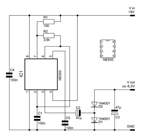 Schaltung des Spannungsinverters mit dem NE555.