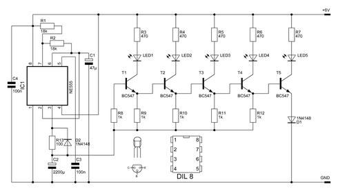 Schaltbild des 5-fach-Lauflichts.
