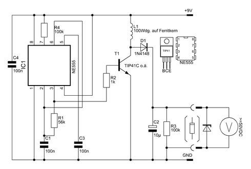 Schaltbild des Z-Dioden-Testers mit dem NE555. Bild zum Vergrößern bitte anklicken.