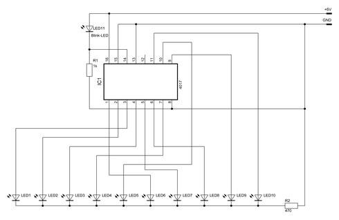 Schaltbild des 10-fach-Lauflichtes mit dem 4017