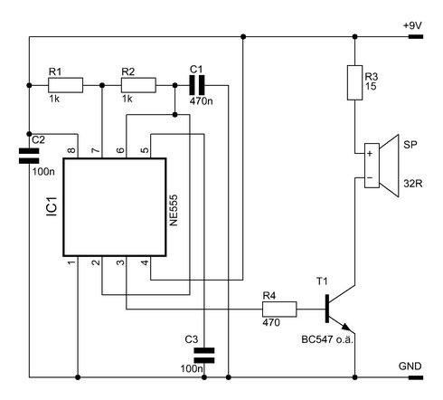 Einfacher Signalgeber mit dem NE555