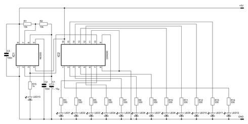 Schaltbild des 12-Bit-Binärzählers mit dem NE555 und dem CMOS4040