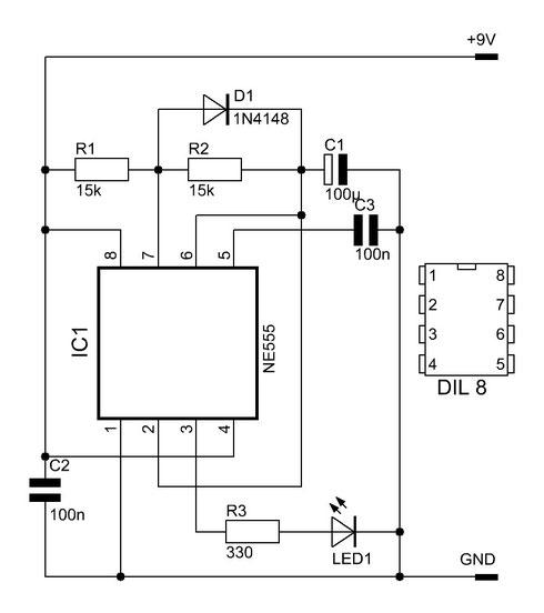 Schaltung des NE555-Blinkers.