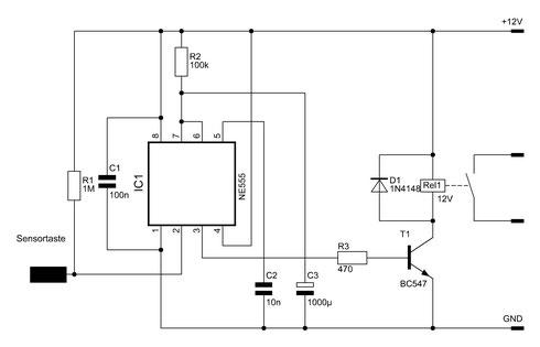 Schaltbild des NE555-Sensortasters mit Zeitschalter