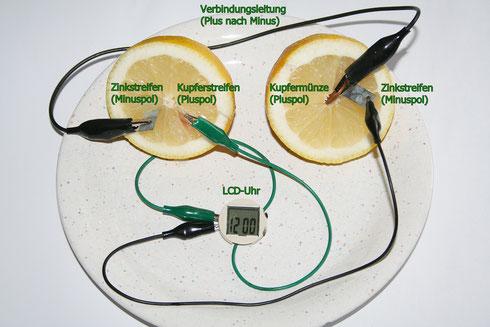 Zwei halbe Zitronenbatterien mit angeschlossener Digitaluhr