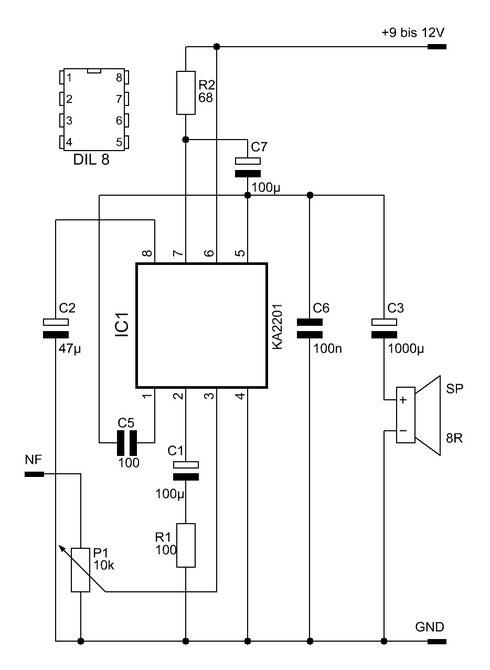 Schaltbild des KA2201-Verstärkers. Nur wenige externe Bauteile werden benötigt.