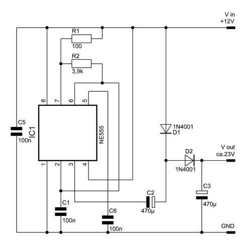 Einfacher Spannungswandler mit dem NE555. Die Bilder können durch Anklicken vergrößert werden.