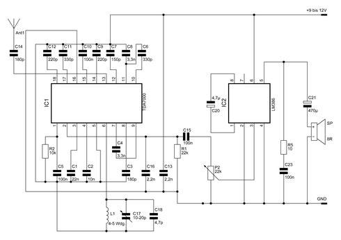 Schaltbild des UKW-Radios mit TDA7000 und LM386