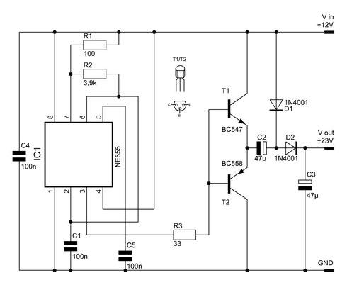Der Spannungsverdoppler mit Transistorverstärkung.