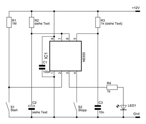 Schaltbild der NE555-Zeitschaltung.