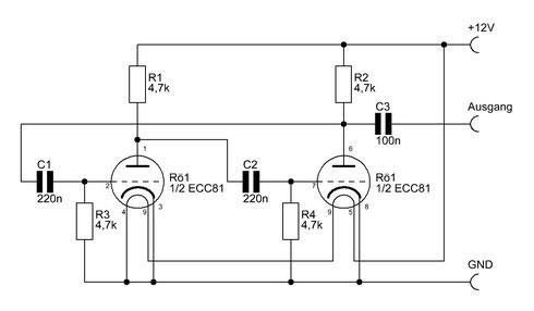 Schaltbild des ECC81-Röhrenoszillators