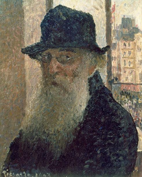Autorretrato 1903.Pisarro.Óleo sobre lienzo.41x33cm.Donación de Lucien Pisarro, hijo del artista. Humilde y colosal..la mirada de este artista que gira la cabeza interactuando con el espectador...La comparación con Monet es algo que no supo superar nunca.
