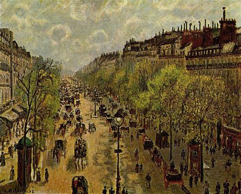 Boulevard de Montmartre,mañana de invierno 1897.Óleo sobre lienzo,64x81cm.Prestamo del Metropolitan Museum of Art.