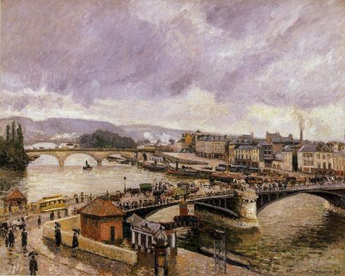 Pisarro.Pont Boieldieu y Pont Corneille, Ruan, efecto de lluvia 1896öleo sobre lienzo 73x92cm.Staatliche Kunsthalle,Karlsruhe.