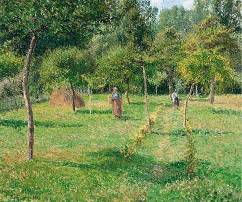 El pintor introduce con frecuencia la figura campesina..el tiempo parece detenido...luces y penumbras con vibraciones únicas..El huerto de Éragny,1896.