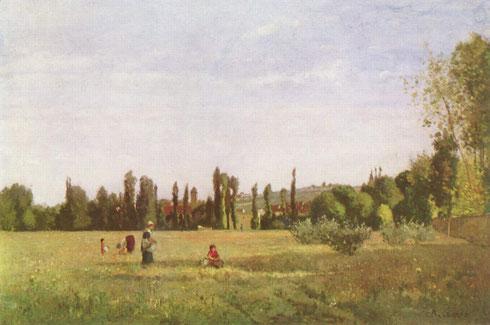 Camille Pisarro.La Varenne-Sain Hilaire, vista desde Champigny.1863 Persiste el entorno campestre casi como visión contemplativa de una quietud mágica..muestra un mundo rural ideal armonioso.