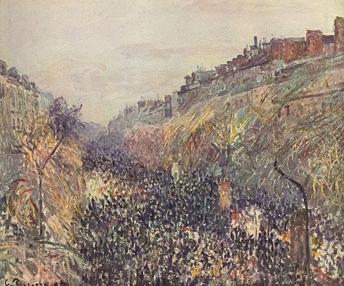 Camille Pisarro.Boulevard Montmartre, martes de carnaval por la tarde...Confetis,carrozas bajo una lluvia de serpentinas con efectos de sol...todo un combate social en las idas y venidas inquietas de las calles parisinas...