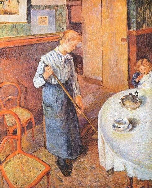 La joven criada,1882.Óleo sobre lienzo.63x53cm.Donación de Lucien Pisarro hijo del artista.La misma seriedad y respeto de personas merecedoras de una representación individual,toda una búsqueda de inspiración moral...