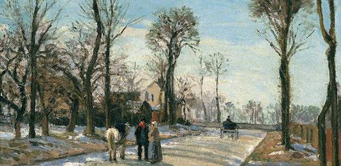 Camino de Versalles.Sol de invierno y nieve.Pisarro. Los árboles controlan el ritmo espacial desalineados y diferentes tamaños con sombras rítmicas transversales..cualidad lógica y gran belleza.