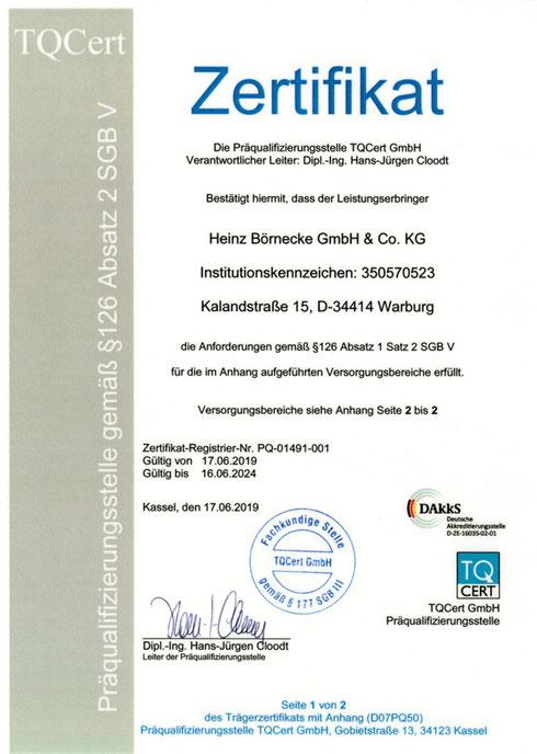 Zertifizierter LIeferant der Krankenkassen