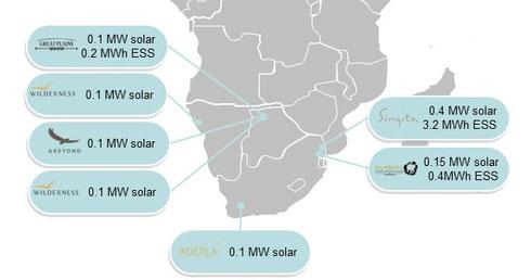 Beispiele für Safari-Lodges mit Solar bzw. Energiespeicher im südlichen Afrika