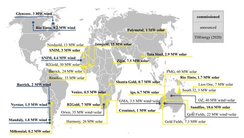 "Redesigned and updated version of our world map ""Major on-site solar and wind power projects in mining"" - (c) THEnergy"