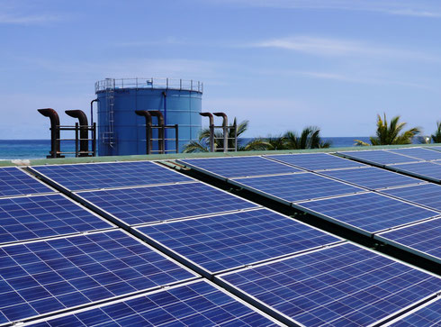 PV-diesel hybrid plant on an island - approved for media publication with source: DHYBRID