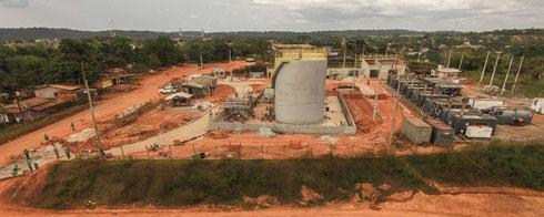 One of Voltalia's remote solar-diesel hybrid power plants during construction - (c) Voltalia