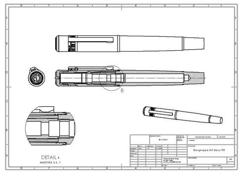 Technische Zeichnung Art déco Füller Achim Velte