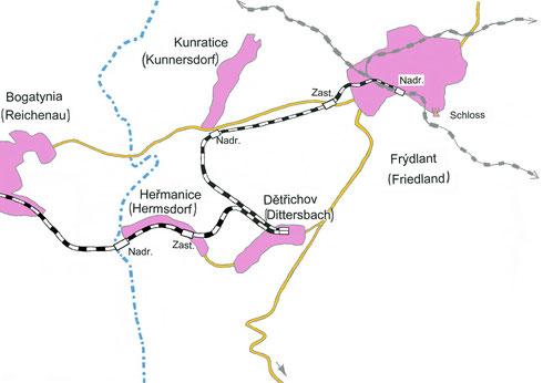 Streckenkarte der ehemaligen Friedländer Bezirksbahn