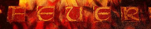 Rot und Gold in einem Schriftbild auf Leinwand