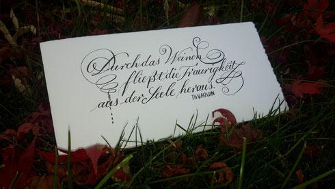 Kalligraphische Handschrift Kalligraphie Kondolenzkarte