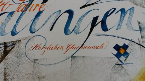 Ausschnitt Kalligraphie Kunstmappe Jubiläum Geschenk vhs Balingen Schwäbische Alb