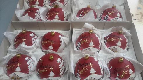 Handbemalte Weihnachtskugeln mit Wunschtext