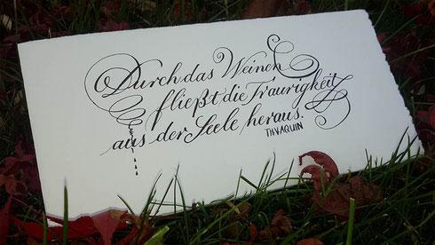 Kalligraphie Trauerkarte Spitzfeder
