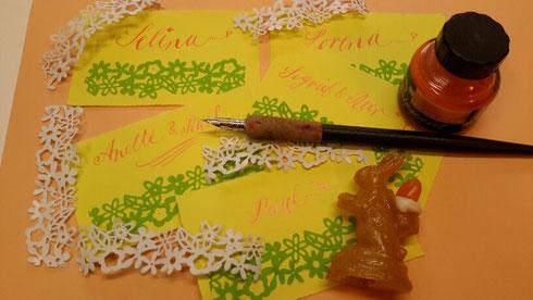 Kalligraphie mit Zuckerhäschen