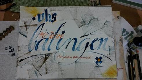 Schriftkunst Kalligrafie Kunstmappe Jubiläum vhs Balingen Zollernalb Schwäbische Alb